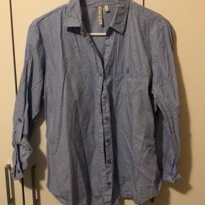 Blue linen dress shirt size L